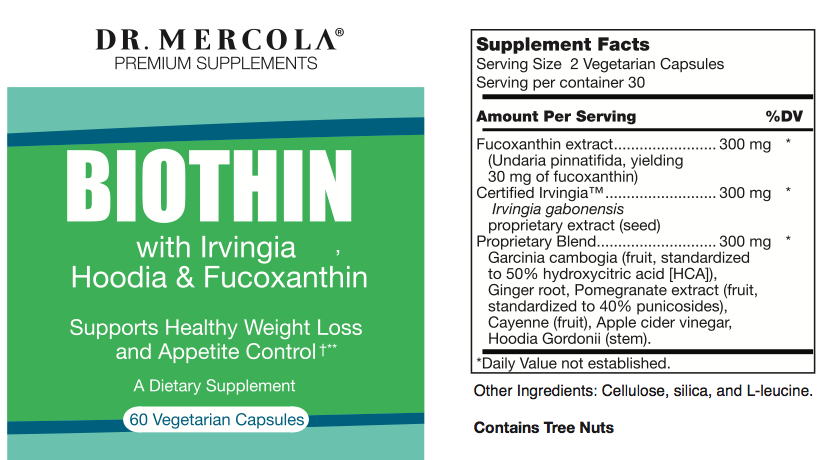 Label Snapshot for Dr. Mercola Biothin with Irvingia™, & Fucoxanthin