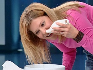 A Volunteer Demonstrating How To Use The Neti Pot with Dr. Oz on Oprah